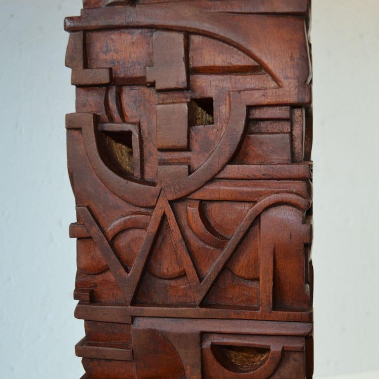 Abstract Totem Sculpture Carved in Wood For Sale 6