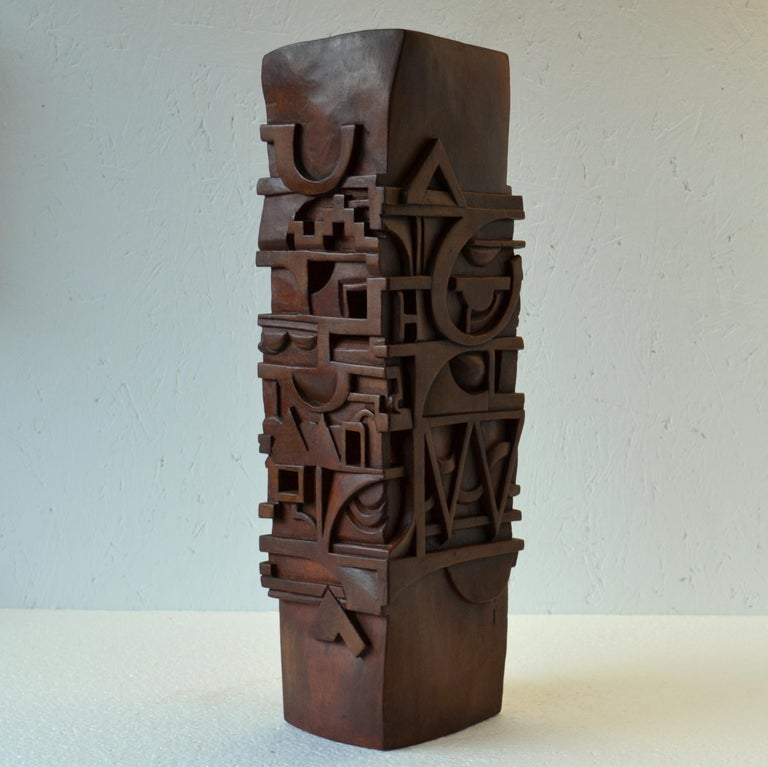 French Abstract Totem Sculpture Carved in Wood For Sale