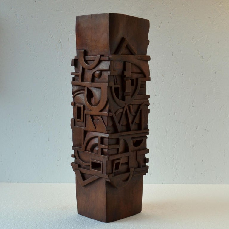 Late 20th Century Abstract Totem Sculpture Carved in Wood For Sale