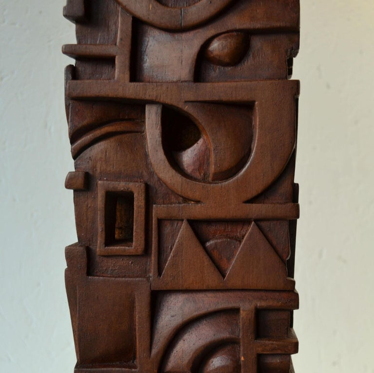 Abstract Totem Sculpture Carved in Wood For Sale 1