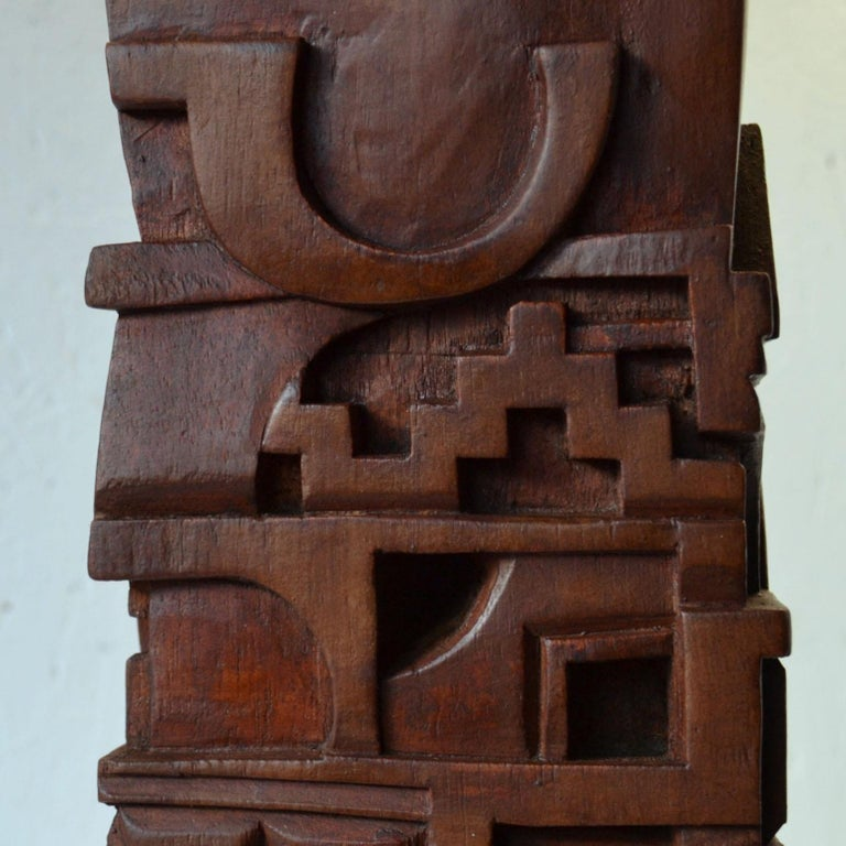 Abstract Totem Sculpture Carved in Wood For Sale 2