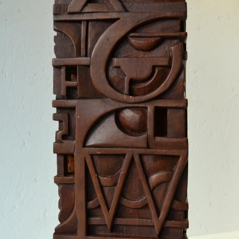 Abstract Totem Sculpture Carved in Wood For Sale 3