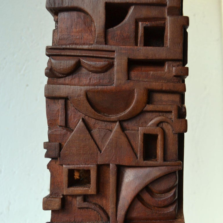 Abstract Totem Sculpture Carved in Wood For Sale 4