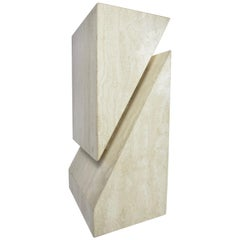 Abstract Travertine Table Base or Pedestal Attributed to Up&Up