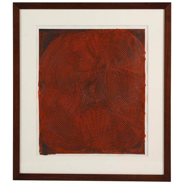 Abstract Trowel Painting in Red by Duayne Hatchett, USA, 1990s In Good Condition For Sale In New York, NY