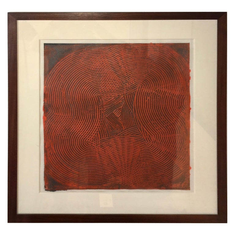 Abstract Trowel Painting in Red by Duayne Hatchett, USA, 1990s For Sale