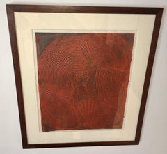 Abstract Trowel Painting In Red by Duayne Hatchett, USA 1990s