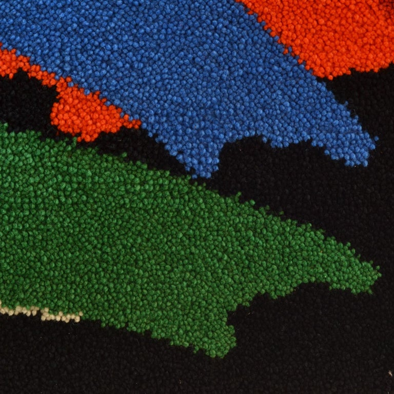 German Abstract Vibrant Wall Tapestry by Junghans, 1960's For Sale