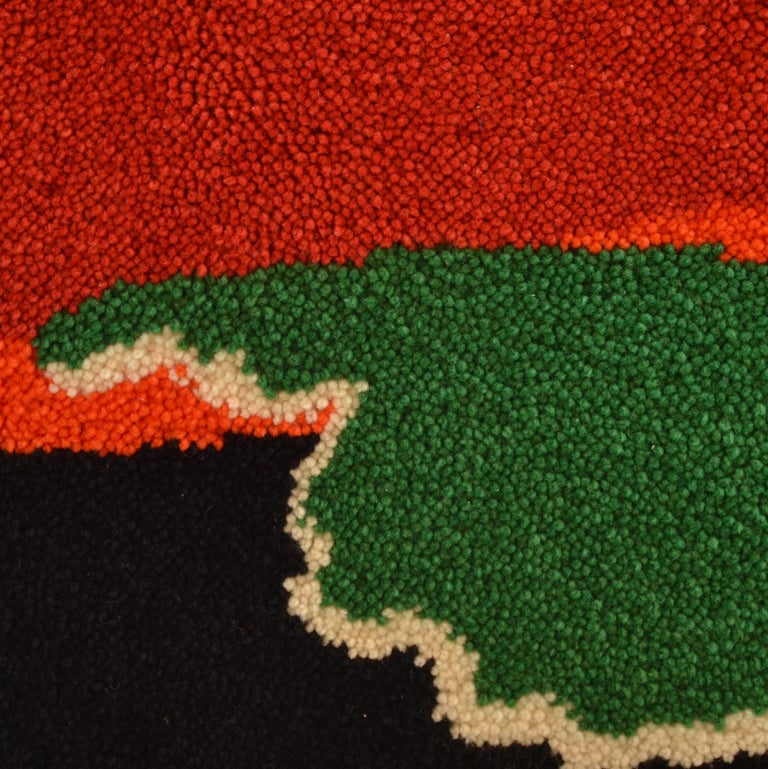 Hand-Knotted Abstract Vibrant Wall Tapestry by Junghans, 1960's For Sale