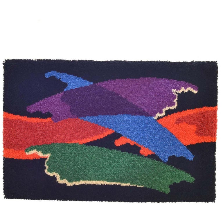 Abstract Vibrant Wall Tapestry by Junghans, 1960's For Sale