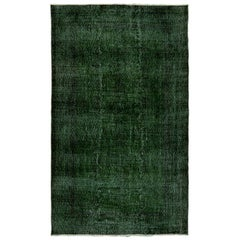 6x9 ft Vintage Handmade Turkish Area Rug Over-dyed in Dark Emerald Green
