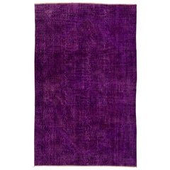6.5x10.2 Ft Abstract Vintage Handmade Turkish Rug, Over-Dyed in Purple Color
