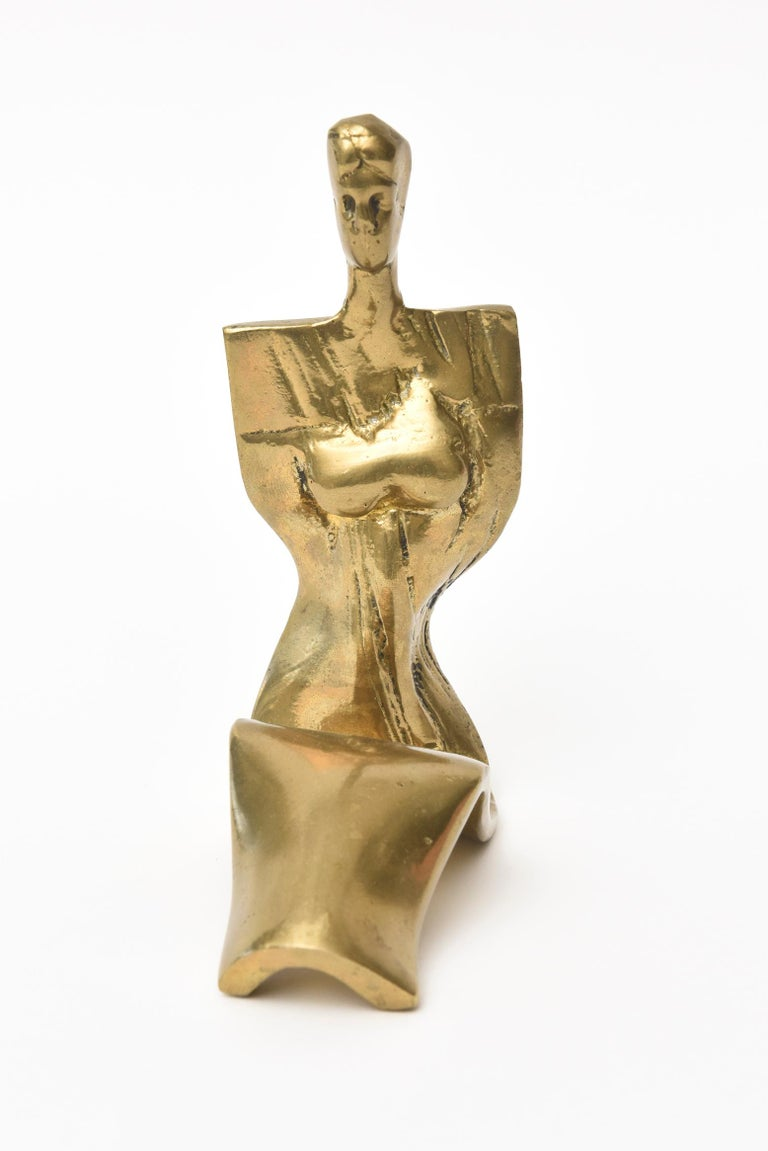 Modern Abstract Vintage Signed and Numbered Brass Sculpture of a Seated Woman For Sale
