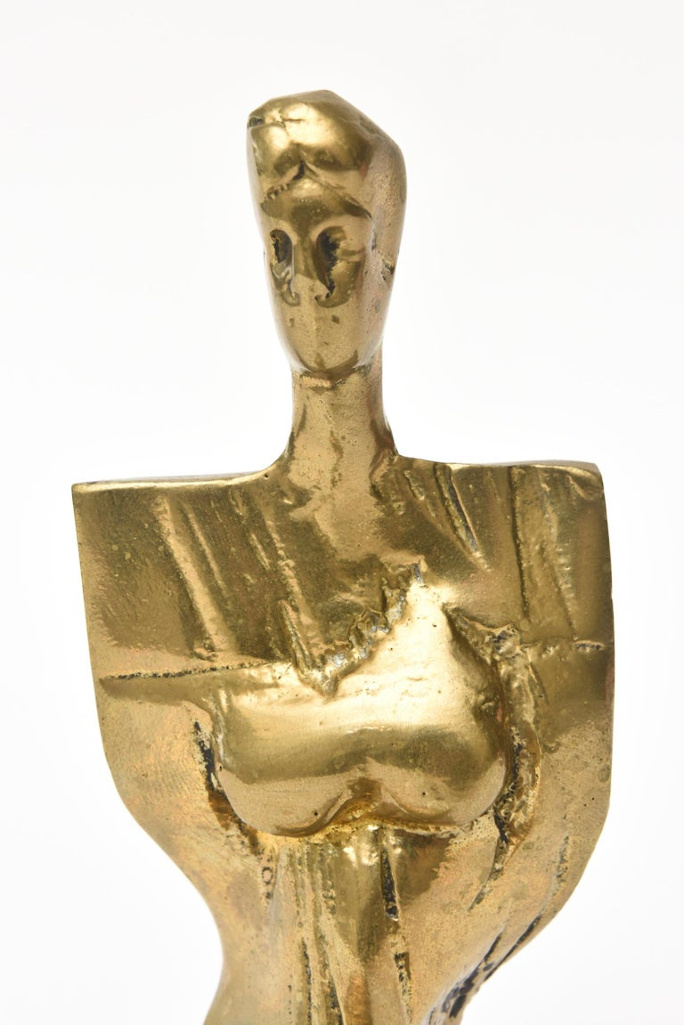 Abstract Vintage Signed and Numbered Brass Sculpture of a Seated Woman In Good Condition For Sale In North Miami, FL
