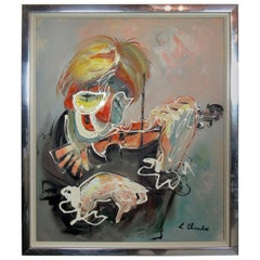 Abstract Violinist Painting by L Charles