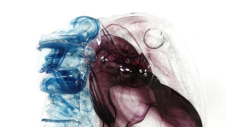 Abstract midcentury glass object, glass in two different colors.   With engraved signature B. Schagemann.    The German glass artist and teacher at the Glasfachschue Zwiesel Bernhard Schagemann (1933 in Bad Waldsee Oberschwaben - 2016 Lindberg