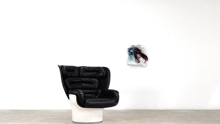 Mid-Century Modern Abstract Wall Art Glass Sculpture Studio Glass B. Schagemann For Sale