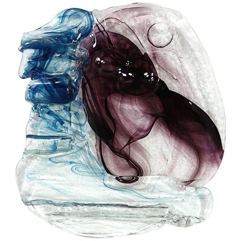 Abstract Wall Art Glass Sculpture Studio Glass B. Schagemann For Sale