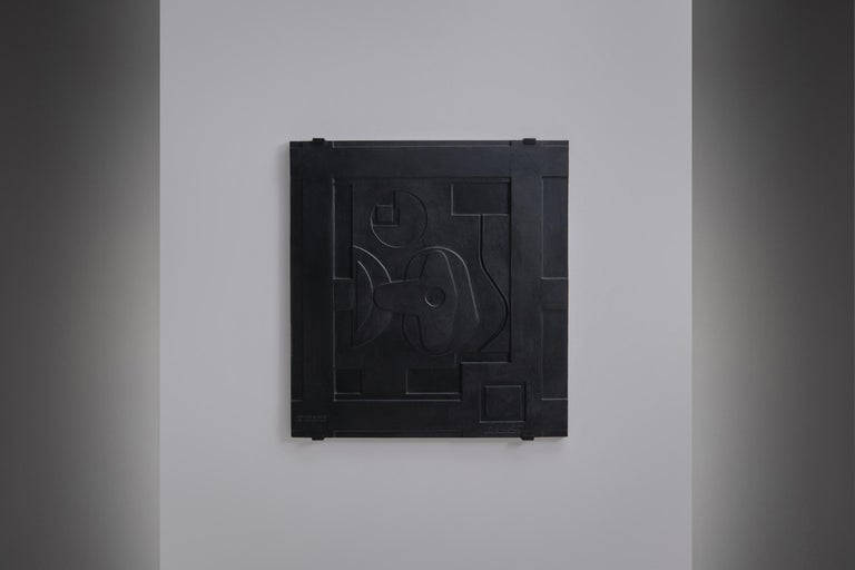 Abstract Wall Relief in Cast Iron, France, 1960's In Good Condition For Sale In Rotterdam, NL