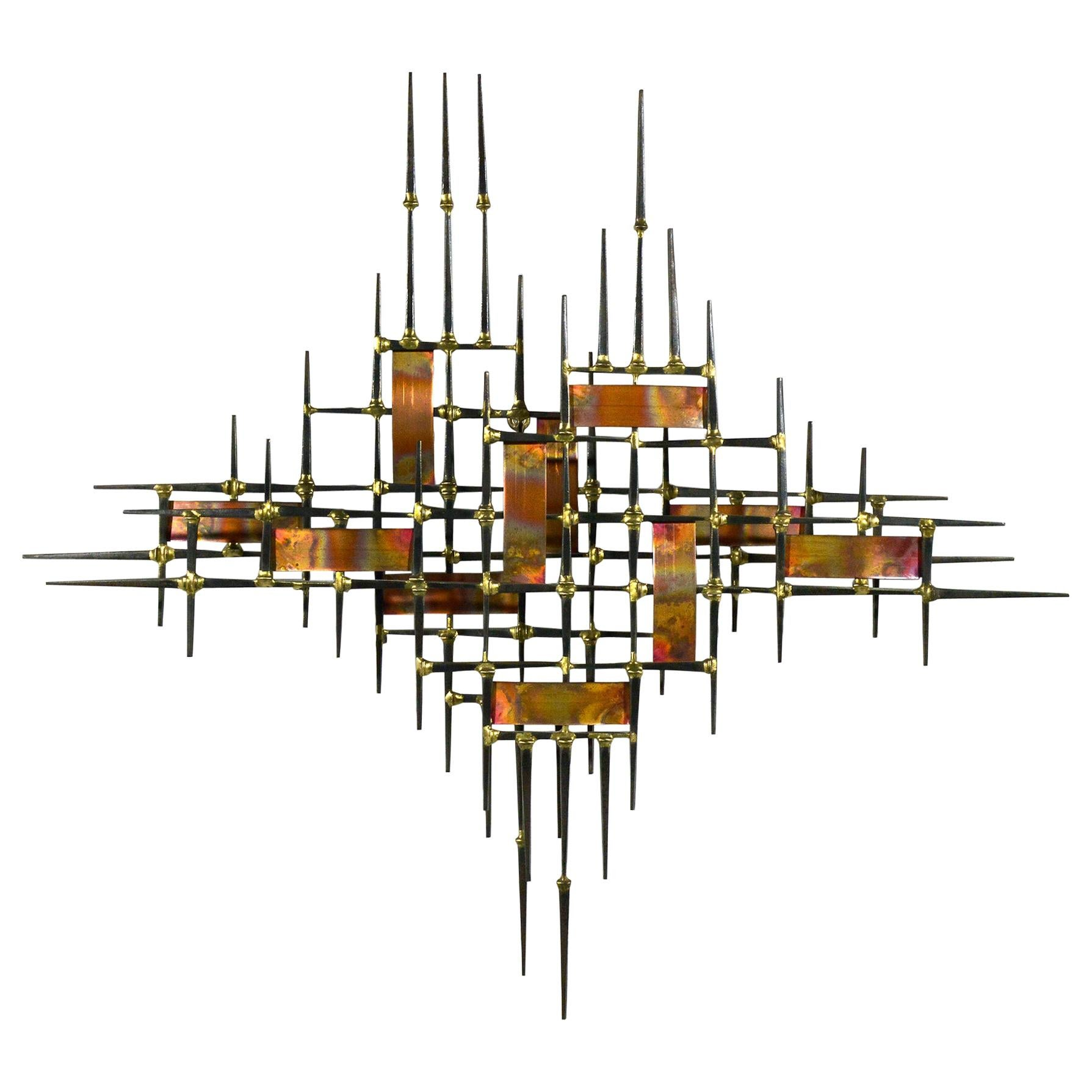 Abstract Wall Sculpture in Iron, Bronze and Copper