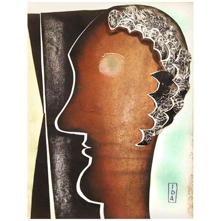 Abstract Water Color and Paper Collage by Ida Colucci For Sale