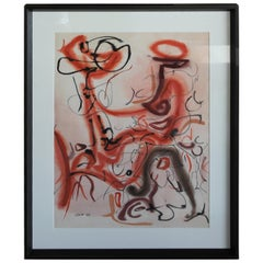 Abstract Water Color Signed and Dated 1955
