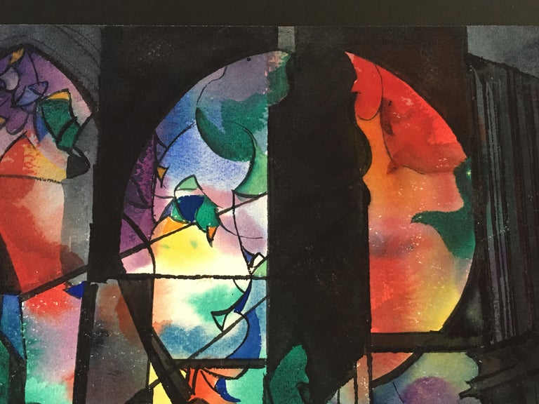 American Abstract Watercolor by Wayne La Com For Sale