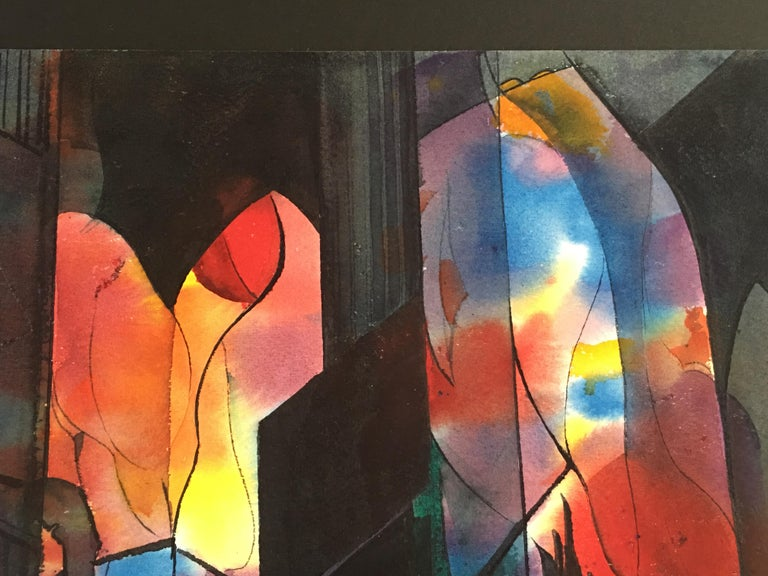 Lacquered Abstract Watercolor by Wayne La Com For Sale