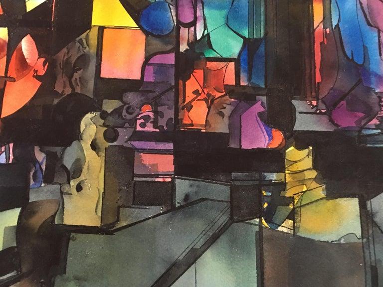Abstract Watercolor by Wayne La Com In Excellent Condition For Sale In Pasadena, CA