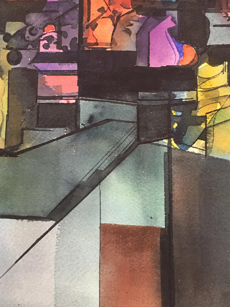Mid-20th Century Abstract Watercolor by Wayne La Com For Sale