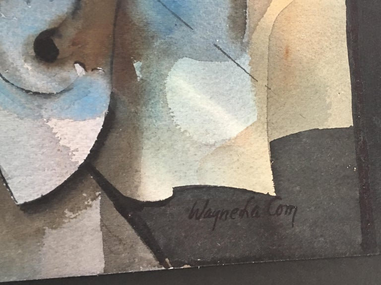 Wood Abstract Watercolor by Wayne La Com For Sale