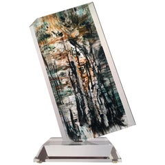 Abstract Wedge Lucite Sculpture by Shlomi Haziza