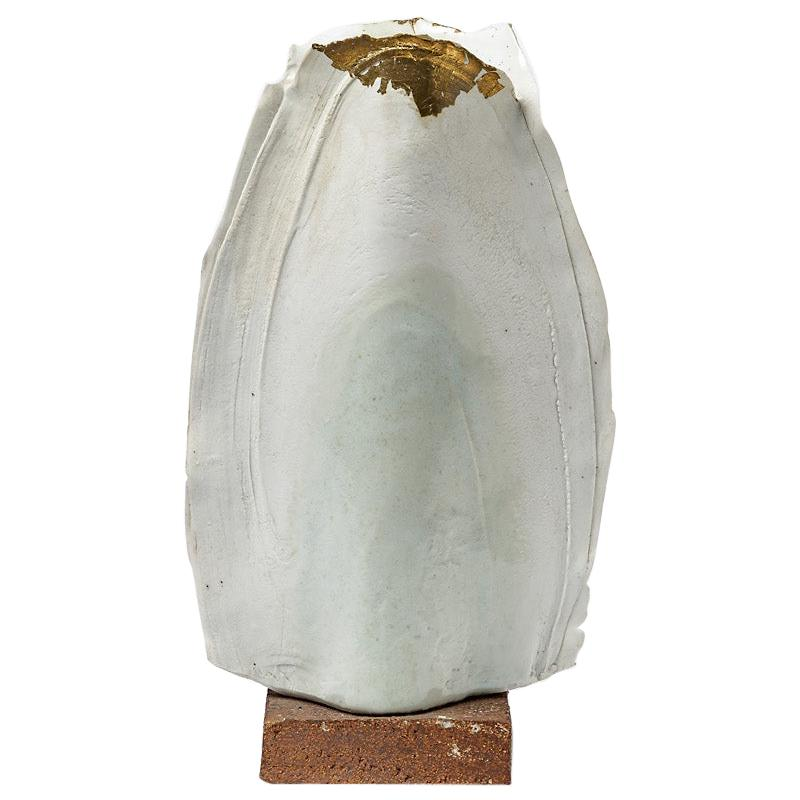 Abstract White and Gold Porcelain Ceramic Vase or Scultpure by Gueneau 1975