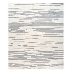 Abstract White Modern Moroccan Style Wool Rug