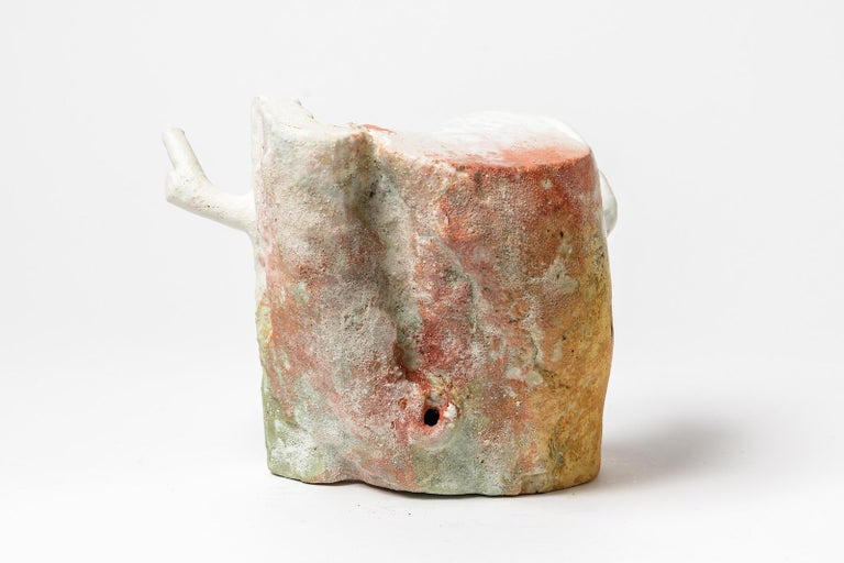 Modern Abstract White, Orange and Red Colored Ceramic Sculpture by Laurent Petit French For Sale