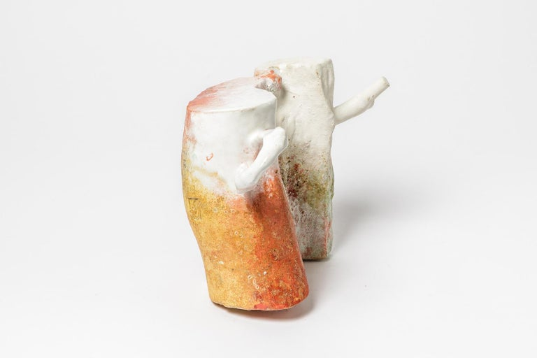 Abstract White, Orange and Red Colored Ceramic Sculpture by Laurent Petit French In Excellent Condition For Sale In Neuilly-en- sancerre, FR