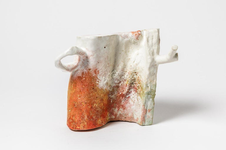Abstract White, Orange and Red Colored Ceramic Sculpture by Laurent Petit French For Sale 1