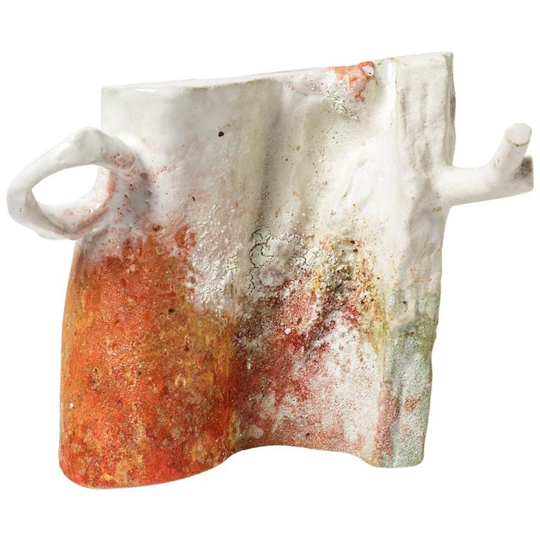 Abstract White, Orange and Red Colored Ceramic Sculpture by Laurent Petit French For Sale