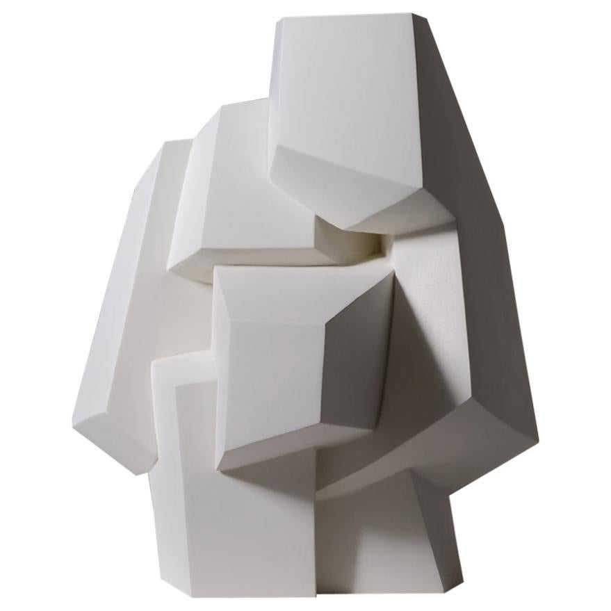 Abstract White Plaster Cubist Sculpture, 1960s