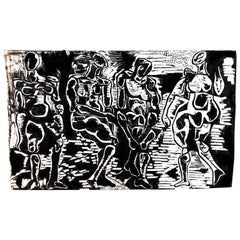 Abstract Woodblock Print Figural Black & White, Nudes, Salvatore Grippi,  1950s