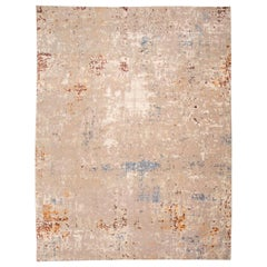 Abstract Wool and Silk Rug with Design in Beige Tones