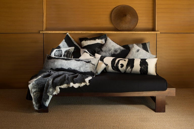 Organic Modern Abstract Wool Body Pillow - Heritage Sheep Collection For Sale