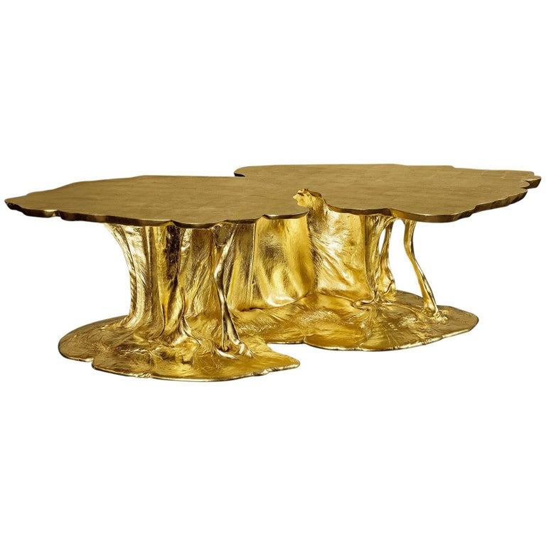 Abstraction 2, Gold Low Table, Origins Project, 2017, Unique Piece