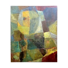 Abstractism Geometric Style Painting Oil on Canvas, France, 1960s