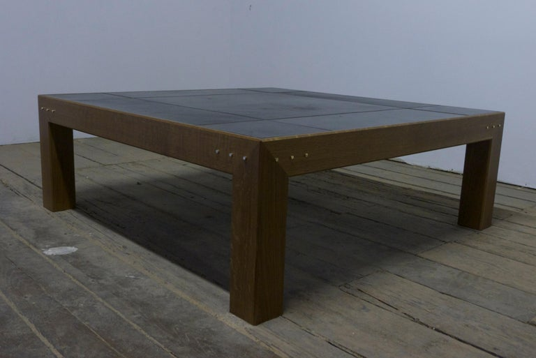 Dyed Abuelo Mexican Midcentury Coffee Table Square Walnut/Saddle Leather