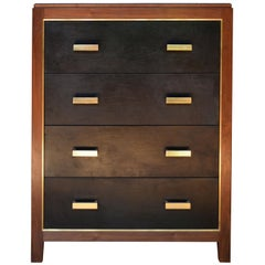 Abuelo Mexican Midcentury Four-Drawer Tall Bureau Walnut/Saddle Leather Dresser