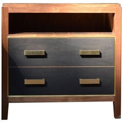 Abuelo Mexican Midcentury Nightstand 2-Drawer, Open Shelf Walnut/Saddle Leather