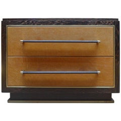 Abuelo Mexican Midcentury Nightstand Two-Drawer Pedestal Wenge/Saddle Leather