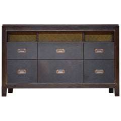 Abuelo Mexican Midcentury Six-Drawer Bureau Walnut/Saddle Leather Dresser, Shelf