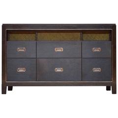 Abuelo Mexican Midcentury Six-Drawer Bureau Walnut/Saddle Leather Dresser, Shelf